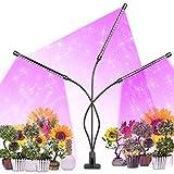 Lámpara de Planta, 3 Cabezales Lámpara de Crecimiento 30W 60 LED Lampara de Cultivo Grow Light Indoor Espectro Completo Interruptor Temporizador Auto 3/6/12H Regulable 360°5 Niveles Regulables