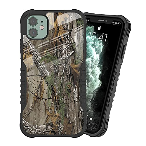 iPhone 11 Case for Man Boys, Camouflage Tree Trunk Hunting Camo Forest Design Shockproof Anti-Scratch Drop Soft Silicone TPU Bumper PC Backplane Protection Case for iPhone 11