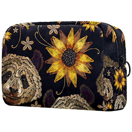 ATOMO Makeup Bag, Fashion Cosmetic Travel Bag Large Toiletry Bag Makeup Organizer for Women, Cute Panda Sunflower Pattern