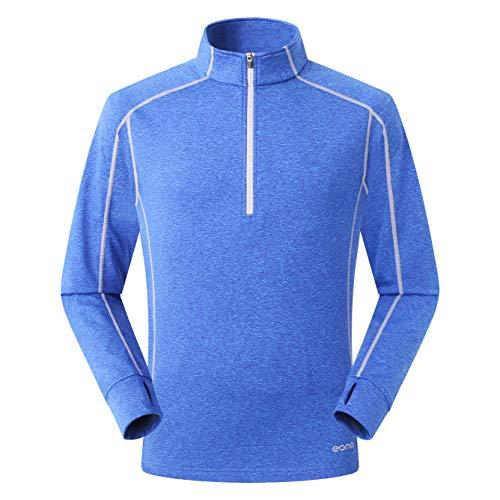 Eono Essentials - Forro polar elástico y ligero con tejido en forma de cuadrícula para hombre, M (azul)