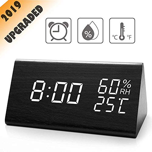 TrophyRak Digital Alarm Clock, with Wooden Electronic LED Time Display, 3 Alarm Settings, Dual Temperature & Humidity Detect, for Desk, Bedroom, Bedside Kids, no Batteries Needed