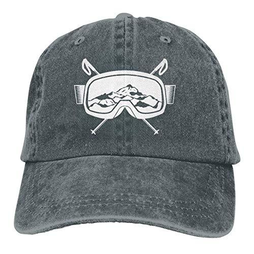 Ingpopol Men Women Adjustable Cotton Denim Baseball Caps Mountain Ski Goggles Skiing Dad Hat