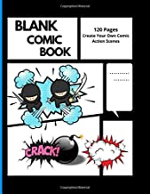 Blank Comic Book 120 pages: Blank Comic Book 120 pages: Create Your Own Comic Action Scenes in Multiple Templets Edition, White Papers