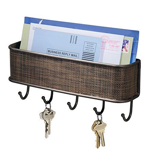 iDesign Twillo Organizer mit Briefablage und Schlüsselbrett, Ablagesystem für die Wand im Flur aus Metall und Kunststoff, bronzefarben