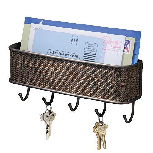 iDesign Twillo Mail and Key Holder, Decorative Wall Mounted Key Rack Organizer Pocket and Letter Sorter Holder for Entryway, Kitchen, Mudroom, Home Office Organization, 10.5' x 2.5' x 4.5', Bronze