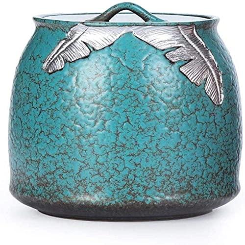 RTYUI Urna de cremación Urnas decorativas Funerarias Adultos Niños Mascota Sellada contra Humedad Material Cerámico Verde (Color: Azul)