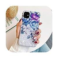 Csddg レトロフローラルリングスタンド電話ケースiPhone12 Mini 11 Pro Max XR XS Max X XS 7 8PlusケースソフトIMDドリームシェルカバー-j(No Ring)-For iPhone 11