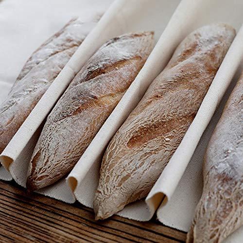 2 Piezas Panadero Lino Paño de Panadero Paño de Fermentación Tela Panadero Rápida Fermentación de la Masa para Hacer Baguettes y Panes,45 * 77cm