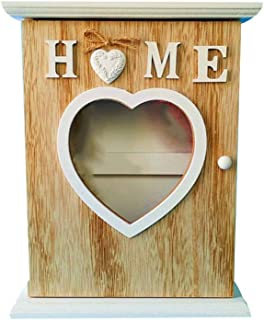 VOSAREA Wooden Key Wall Box Decorative Key Hanging Box Entryway Key Storage Holder Wall Mount Key Organizer for Home