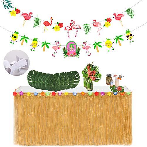 Jupe De Table Hawaienne-Respai,Hawai Jupe Table Hawaïenne Tropicale Hawaïen Luau Hibiscus Herbe Table Jupe Hawaï Artificielles Feuilles Palmier bannière Tropical BBQ Beach Pique-Nique Tiki Décoration