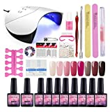 Saint-Acior 8pcs Esmalte Semipermanente Soak off 8ml Esmalte de Uñas 36W UV/LED Lámpara Uñas Top Coat Base Coat Kit para Manicura