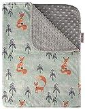Baby Blanket - Spirited Orange Fox with Grey Minky Dot