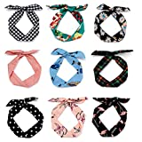 Aiyomimo 9 Stück Damen Headbands Stirnbänder Headwraps Haarbänder Bögen Eisendraht Mädchen Kaninchen Ohren Haarschmuck (Modestil)