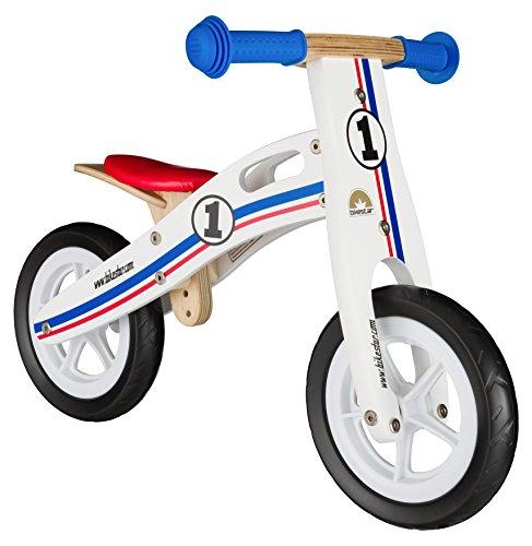 BIKESTAR Bicicletta Senza Pedali in Legno 2 - 3 Anni per Bambino et Bambina  Bici Senza Pedali Bambini 10 Pollici  Bianco Azzurro Rosso