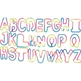 Rainbow Tie-Dye Alphabet Shaped Rubber Bands 26 Piece Pack In BRIGHT Rainbow/TyeDye COLORS + Free 'Forever Carabina' To Carry Your Alphabet Bands!!!