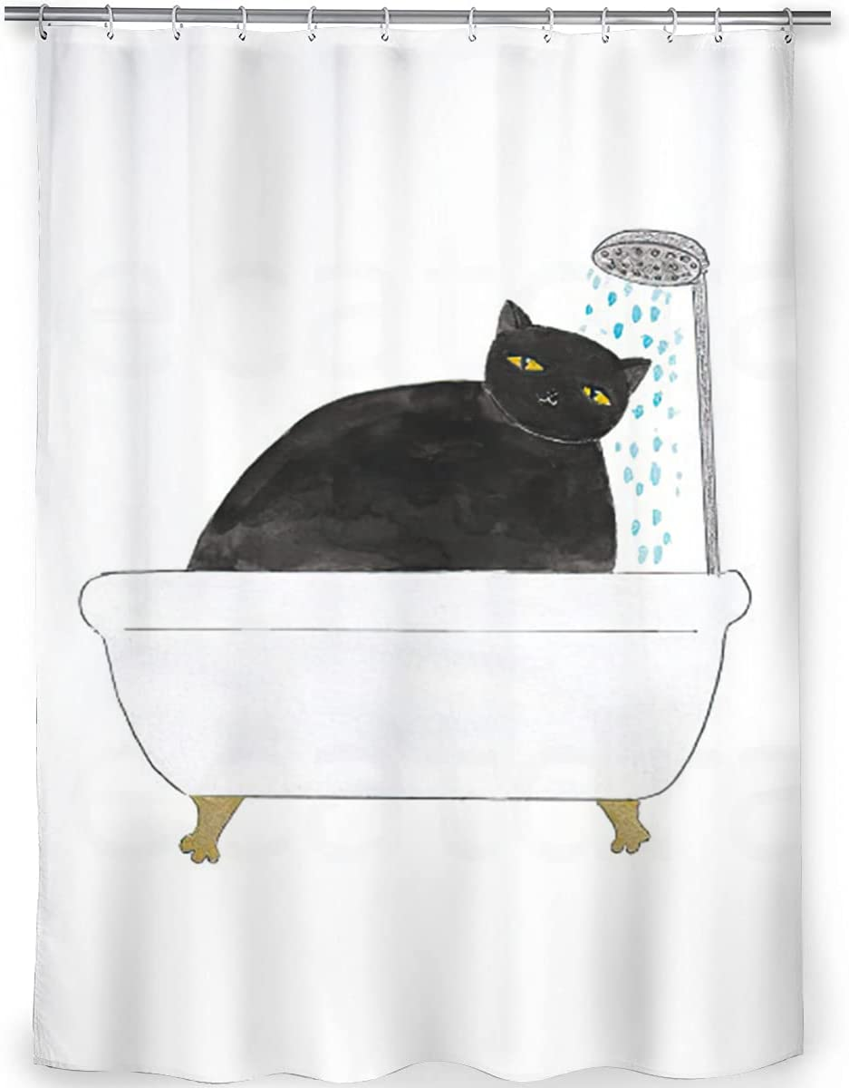 Trust LUCKYDONG Bathroom Shower Black Dur Curtains cat Online limited product Bathing