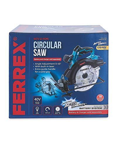 Ferrex Kreissäge, kabellos, 40 V, mit LED-Licht und Laser, nur ohne Batterie, Geschwindigkeit 0-4000 U/min