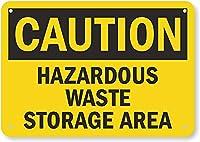 安全標識-注意-有害廃棄物、保管場所。 金属スズサインUV保護および耐候性、通知警告サイン