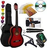 Pack Guitare Classique 4/4 (Adulte) 6 Accessoires Cour Vidéo et DVD (Rouge)