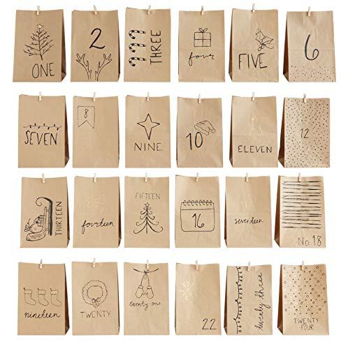 Creative Co-op XM2047 Adventsbeutel aus Papier, mit Clips, 24 Stück
