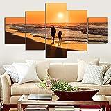HUASUI Póster Lienzo Pintura Paisaje impresión Silueta Puesta de Sol y océano 5 Paneles/Set Cuadros de Pared para Sala de Estar 30x40 30x60 30x80cm sin Marco