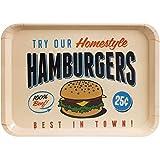 Balvi Serviertablett Best Hamburgers Farbe Weiß Originelle und dekorative Serviertabletts für Küche und Esszimmer Im Vintage-Stil einen amerikanischen Hamburgerladen darstellend Melamin 2,5 x 45,8 x 32,5 cm
