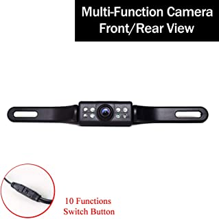 Car Backup Camera License Plate Mount Multifunctional Front/Rear View PAL/NTSC Grid Lines ON/OFF Button Switch 7 LED Autom...