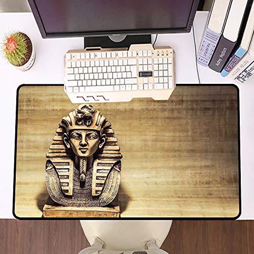 Übergroße Spiel Mauspad -Schreibtischunterlage Large Size,Ägyptische Stein Pharao Tutanchamun Maske Skulptur Papyrus Hintergrunddesign, braun und hellbraun,und schnelle Maussteuerung,Gummiunterseite