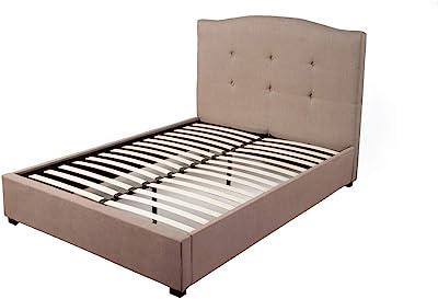 Benjara Benzara BM171772 Wooden Queen Size Bed with Padded Headboard, Brown,