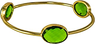 Bezel Stackable, Blue Topaz Quartz 18k Gold Plated Brass Handmade Bangles /& Bracelets 67 Cms