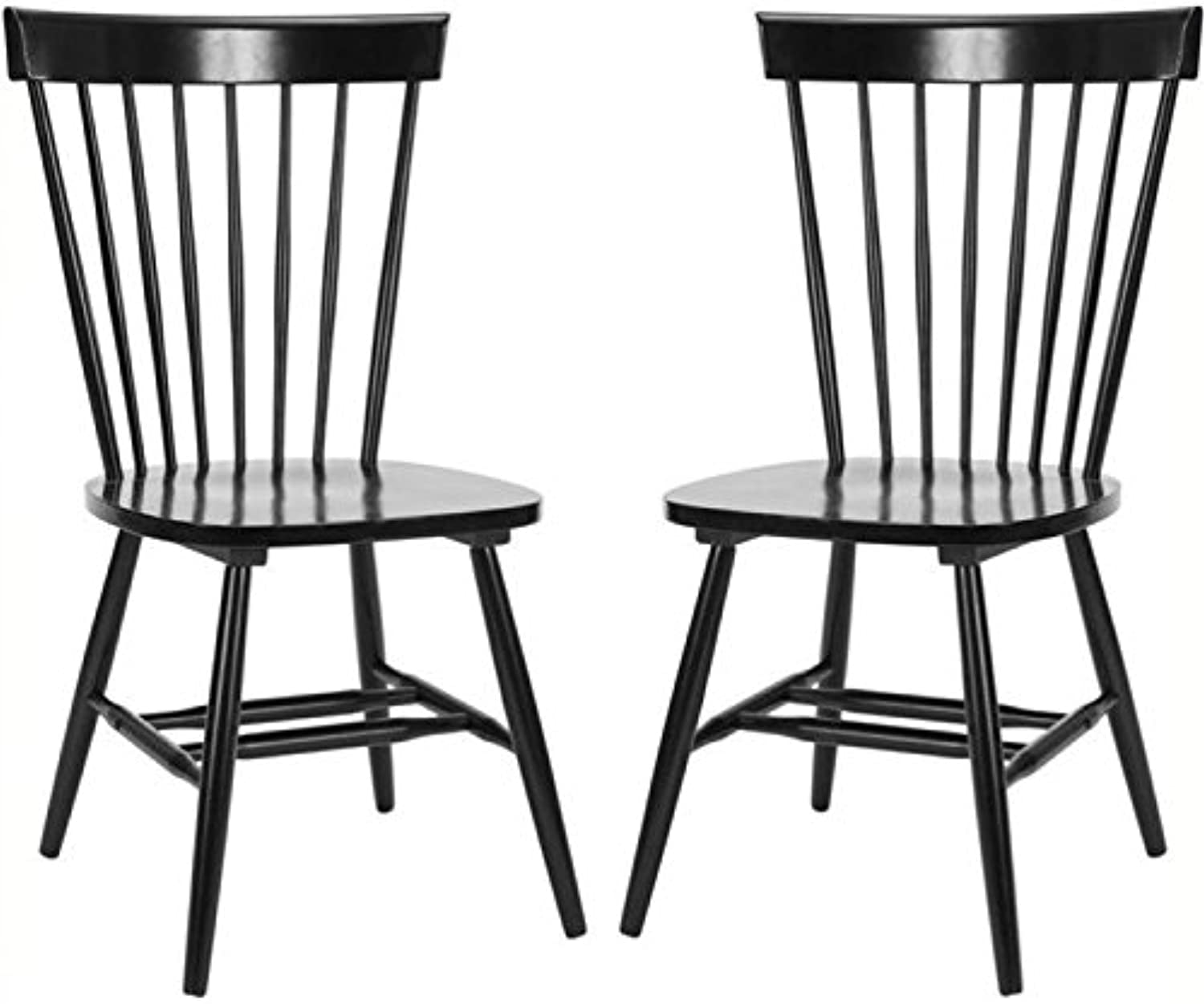 Pemberly Row Traditional Dining Side Chair in Black (Set of 2)