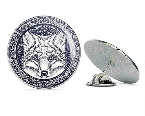 BRK Studio Cool Wild Fox Wolf Celtic Knot Icon Round Metal 0.75' Lapel Pin Hat Shirt Pin Tie Tack Pinback