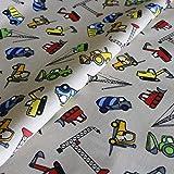 Hans-Textil-Shop Stoff Meterware Baumaschinen auf Beige