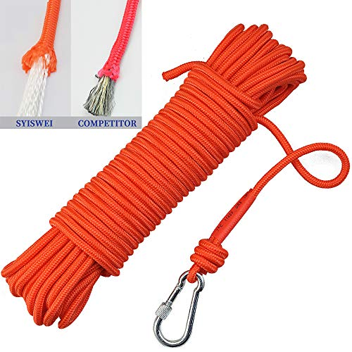 Syiswei Magnet Fishing Rope 1/4' 65ft. 1102lb MAX 6mm 8mm Static Climbing Rope High Strength Cord Utility Rope Shock Absorbent Weather Resistant All Purpose Nylon Rope(Orange-Diameter 6mm)