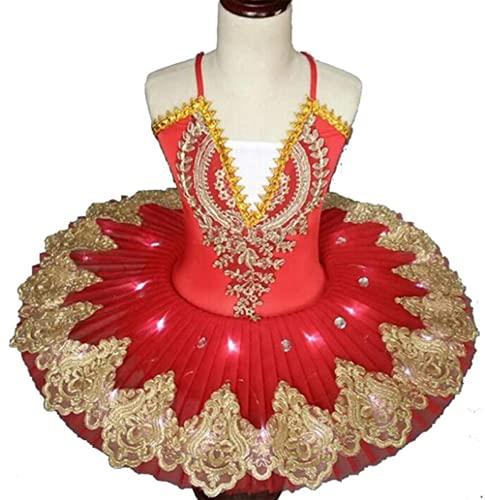 Vestido de Ballet con luz LED para nios, Disfraz de Ballet para nias del Lago de los cisnes, Vestido de Bailarina, tut, Ropa de Baile, Disfraces de Fiesta en el Escenario,Rojo,170