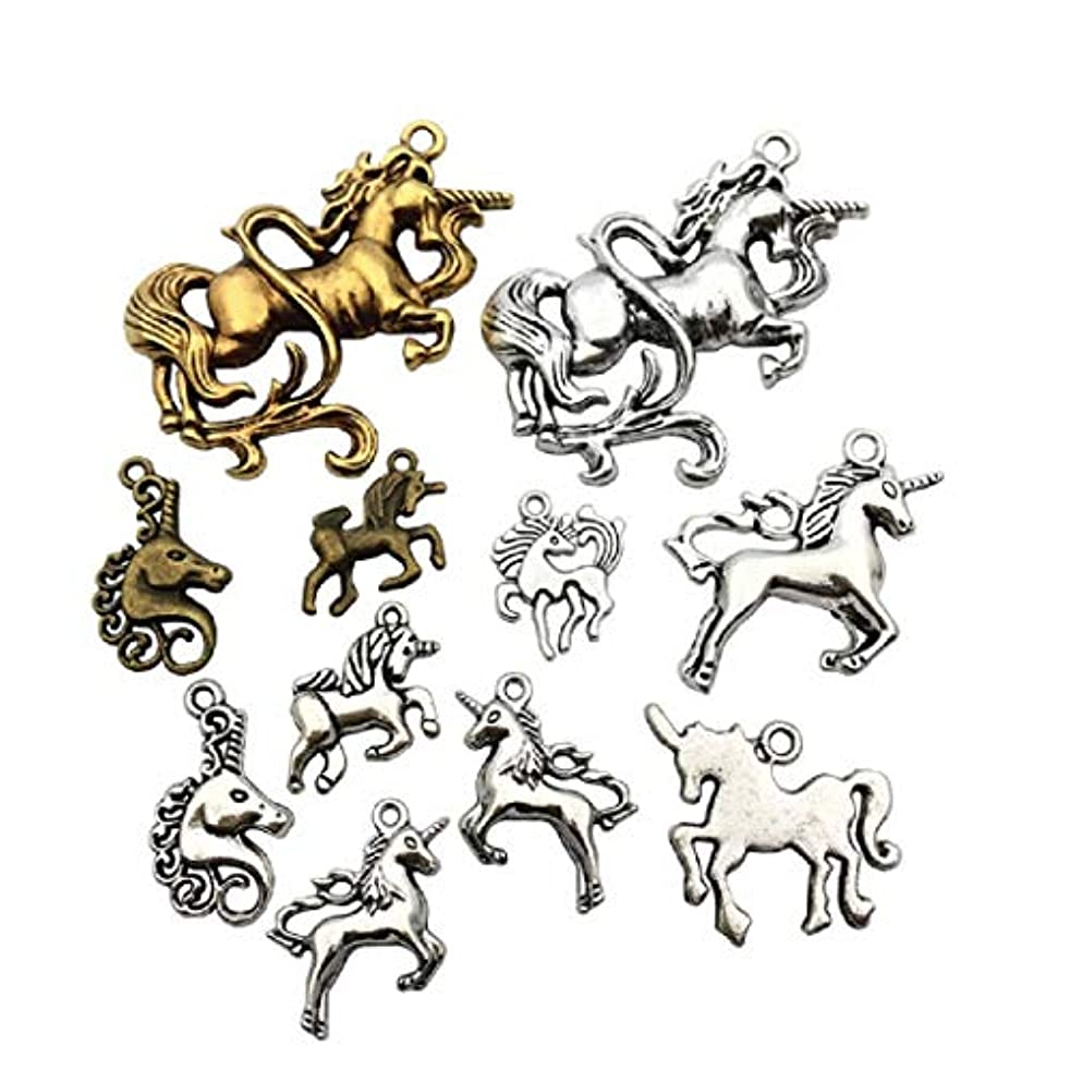 20pcs Unicorn Horse Magical Lucky Charm Craft Supplies Mixed Pendants Beads Charms Pendants for Crafting, Jewelry Findings Making Accessory For DIY Necklace Bracelet M46(Unicorn Charms)
