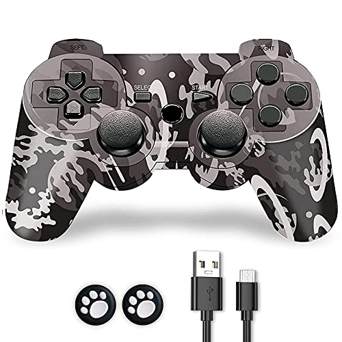 PS-3 Controller, PS-3 Controller Wireless, CFORWARD PS-3 Joystick with Double Shock and 6Axis Gamepad Compatible for Play-station 3 Remote with Charger and Thumb Gripss
