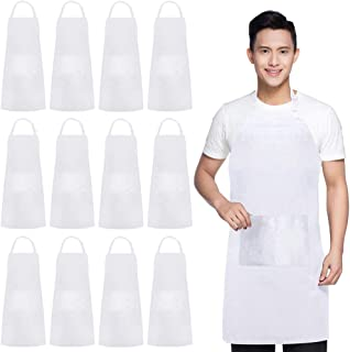 """AFUN 12 Pack Adjustable Bib Aprons Bulk with 2 Pockets for Women Men Chef, 33"""" x 27""""- White"""