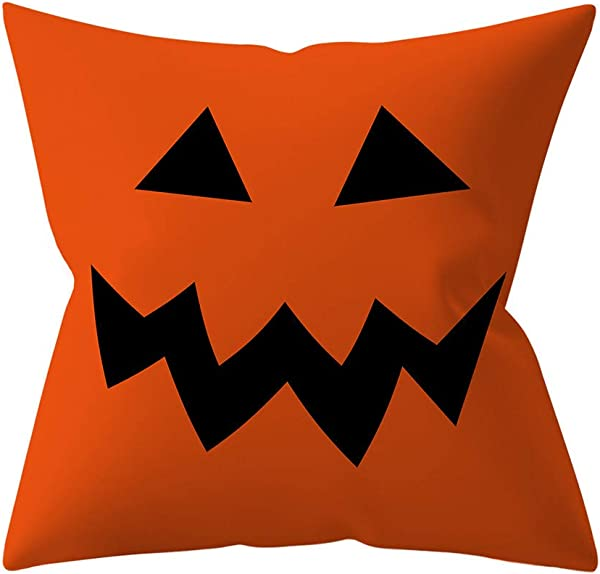 Yaseking Halloween Decorative Pillowcases Fashion Halloween Festival Witch Pumpkin Pillows Case Cushion Cover A