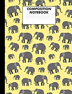 Composition Notebook: Yellow Elephants College Ruled Lined Comp Book