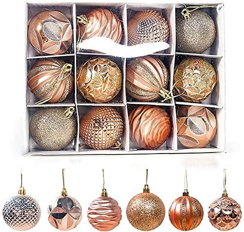 JYHZ Decoraciones navideñas, 12 Piezas de Adornos de Bola de Navidad, Decoraciones de árboles de la Navidad, Bolas de Colgantes Brillantes a Prueba de roturas, decoración de la Fiesta en casa (Rojo)
