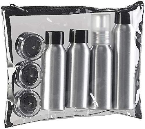 Sichler Beauty Sprühflaschen: Reise-Reißverschluss-Tasche mit 7 Alu-Behältern fürs Reisegepäck (Pflege-Reiseset)