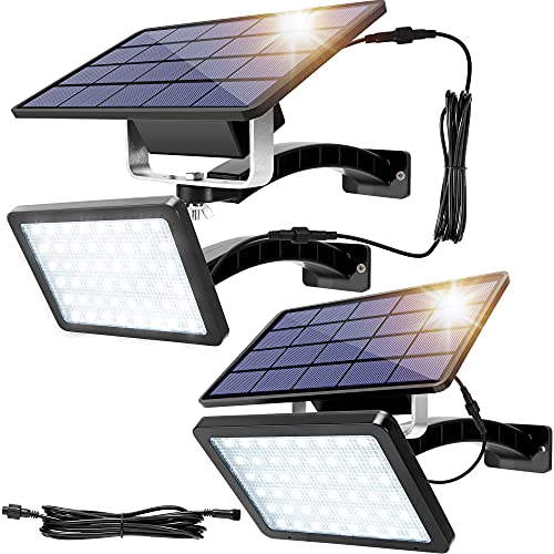 Solar Lights Outdoor JACKYLED 48 LED 1000 Lumens Bright Solar Wall Spotlight with 5500mAh Battery IP65 Waterproof Auto Dusk to Dawn Lighting for Front Door Balcony Shop Barn Garage (Black, 2-Pack)