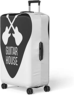 Pinbeam Luggage Cover Silhouette Guitar House Crossing Plectrum Shape Fender Alternative Travel Suitcase Cover Protector Baggage Case Fits 26-28 inches