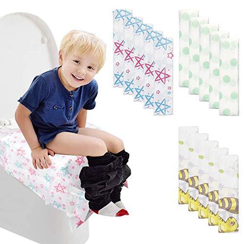 15 Pack Toilettensitzbezüge Einweg,Rutschfeste Antibakterielle Matte Toilettenpapier Pad für Erwachsene und Kinder Töpfchentraining, 3 Style Übergroßer mit einzeln verpackt
