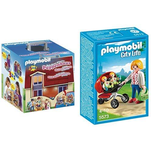 Playmobil 5167 - Mein Neues Mitnehm-Puppenhaus &  5573 - Zwillingskinderwagen
