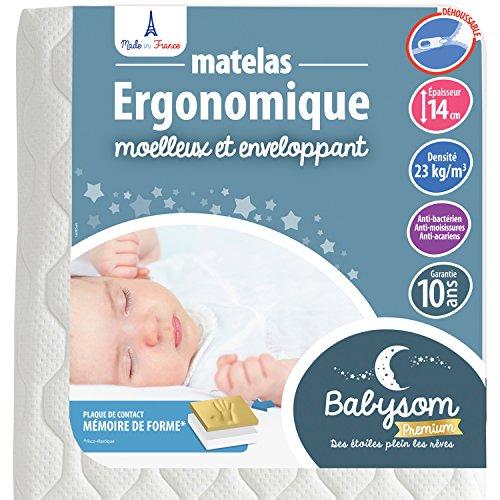 Babysom - Matelas Bébé Ergonomique - 60x120 cm | Anti-acarien | Contact Mémoire de Forme : Confort Optimal | Épaisseur 14 cm | Déhoussable | Oeko-Tex® | Fabrication française