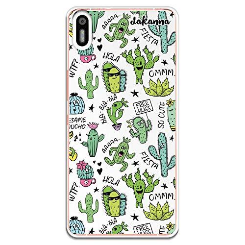 dakanna Funda Compatible con [Bq Aquaris X5] de Silicona Flexible, Dibujo Diseño [Pattern Divertido de Cactus y Frases], Color [Fondo Transparente] Carcasa Case Cover de Gel TPU para Smartphone