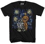 STAR WARS C-3PO R2-D2 C3PO R2D2 Funny Van Gogh Starry Night Droids Painting Force Awakens Last Jedi Adult Men's Graphic Tee T-Shirt (Black, XX-Large)
