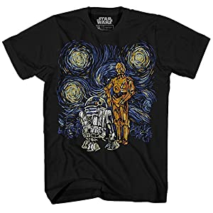 Star Wars Camiseta para hombre Starry Night Droid R2-D2 C-3PO Graphic Tee para hombre 15